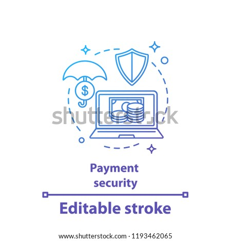 Payment security concept icon. E-payment. Safe money transaction idea thin line illustration. Online banking. Digital investment. Vector isolated outline drawing. Editable stroke
