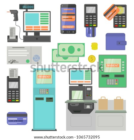 Payment terminal ATM machine and cash register flat icons set