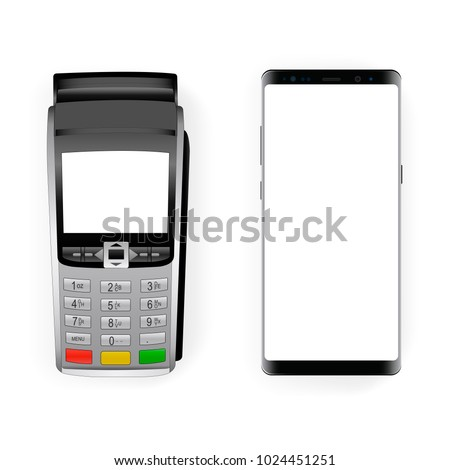 Payment terminal mockup and modern frameless smartphone mockup with blank screen. Concept to showcasing your mobile payment applications. Vector illustration