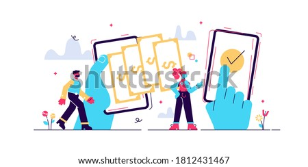 Payment transfer concept, flat tiny persons vector illustrations. Digital wallet operations between peers. Abstract stylized money transaction process. Adding funds and refilling personal bank account