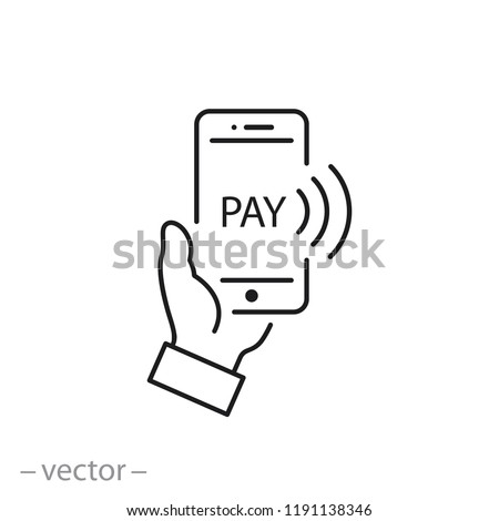 Payment with smartphone icon, online mobile payment linear sign isolated on white background - editable illustration eps10