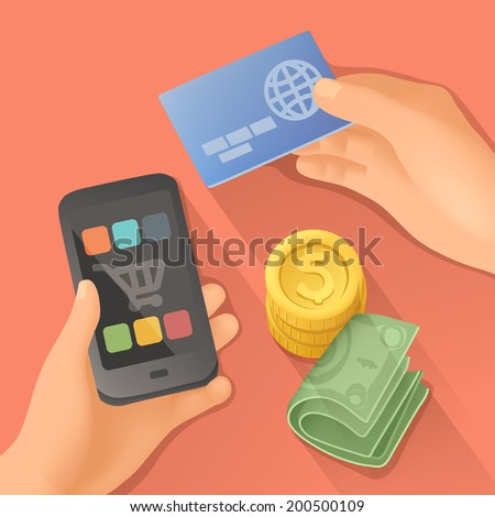 Payments, flat design vector illustration