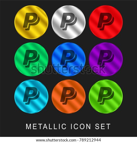Paypal logo 9 color metallic chromium icon or logo set including gold and silver