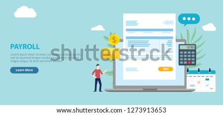 payroll employee worker with invoice paper on the front of laptop with website design page style banner - vector