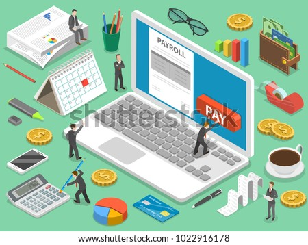 Payroll flat isometric vector concept of salary payment, financial calendar, expenses calculator.