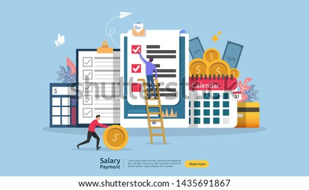 Payroll income concept. salary payment annual bonus. payout with paper, calculator, and people character. web landing page template, banner, presentation, social, and print media. Vector illustration Stock photo ©