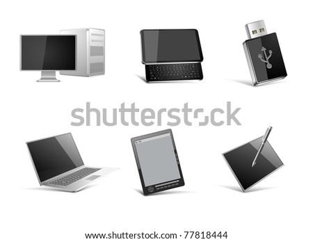 pc and mobile technologies vector icon set