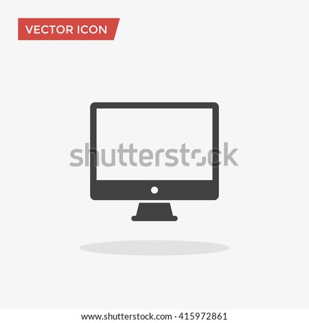 PC Icon in trendy flat style isolated on grey background. Computer symbol for your web site design, logo, app, UI. Vector illustration, EPS10.