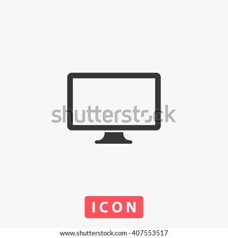 pc icon vector simple flat