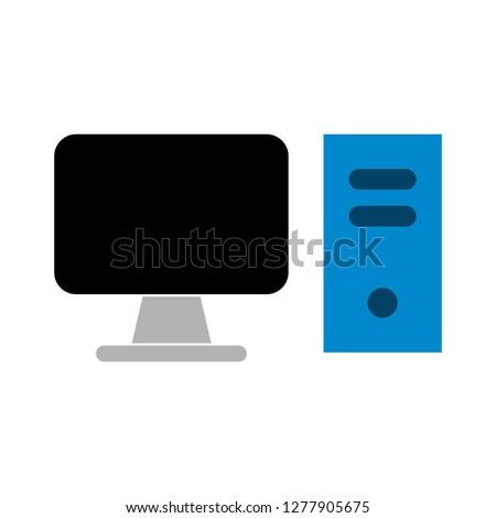 pc monitor icon - pc monitor isolated, computer desktop illustration - Vector computer