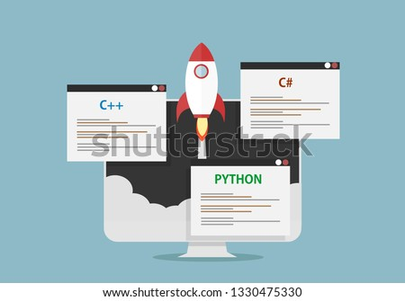 pc monitor with rocket and programing languages pop up c++, c sharp and python