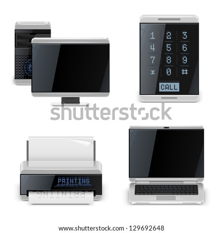 pc printer phone vector icons xxl