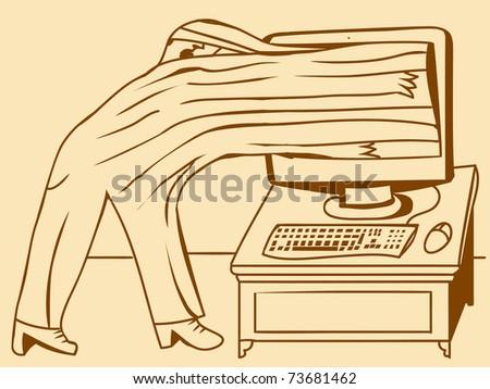 PC screen absorbs a man