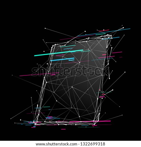 PC Tablet . Abstract Low-poly wireframe vector technology illustration with glitch effect. Device screen. Digital concept of gadgets and devices themes.