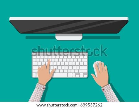 pc top view hands of user