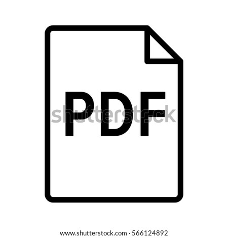 PDF digital document file format line art vector icon for apps and websites