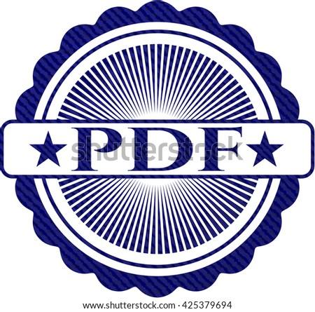 PDF emblem with jean background