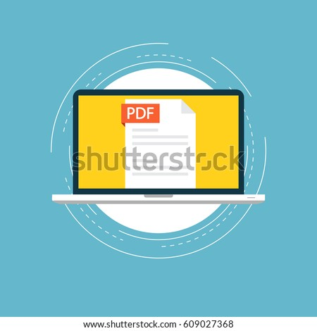 PDF file on laptop screen flat vector illustration design. View, read, download PDF file on laptop and mobile devices. Icon design for web banners and apps