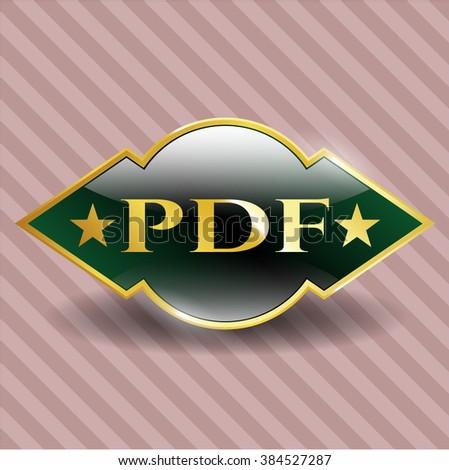 PDF gold emblem or badge
