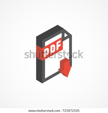PDF isometric icon. 3d vector illustration.