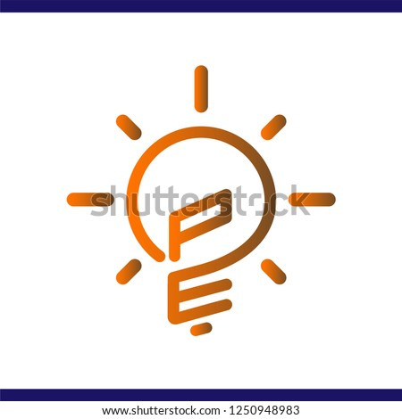 PE Initial Letter with creative bulb Logo vector element. Initial letter bulb Logo Template