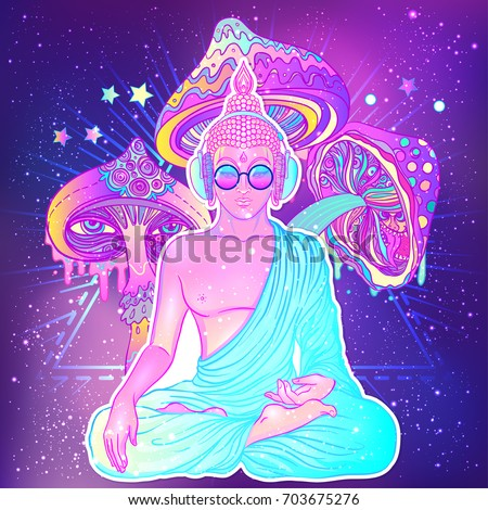 peace and love colorful buddha