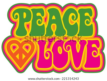 peace and love retro style text