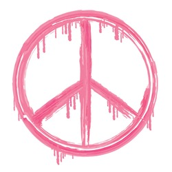 Peace and love sign illustration, typography, t-shirt graphics, vectors, pink, girl