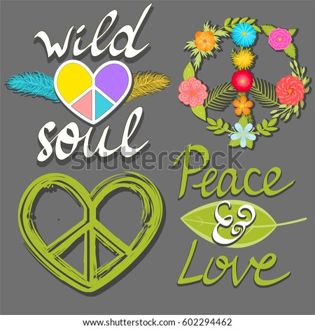 Peace and love, wild soul words, flower peace symbol and heart peace sign. Vector design elements.