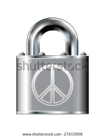 Peace and security icon on stainless steel padlock vector button
