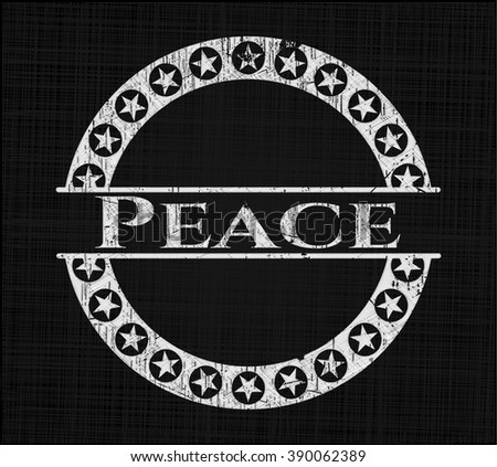 Peace chalkboard emblem on black board