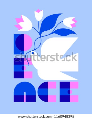 Peace day greeting card with elegant retro lettering and flying dove holding flower bouquet