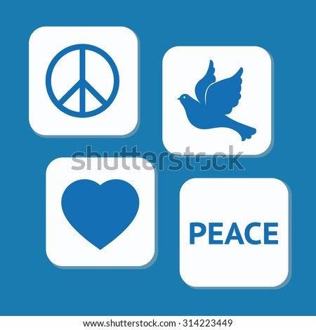 peace day icons set