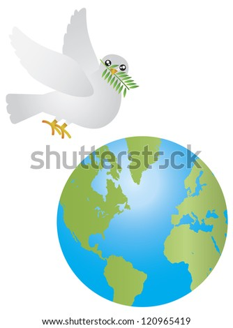 Peace Dove Carrying Olive Leaves Twig Flying Over Earth Isolated on White Background Illustration Vector