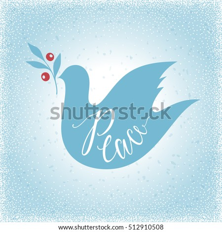 Peace Dove with branch on the blue texture background. Merry Christmas and winter holidays card design. Vector illustration.