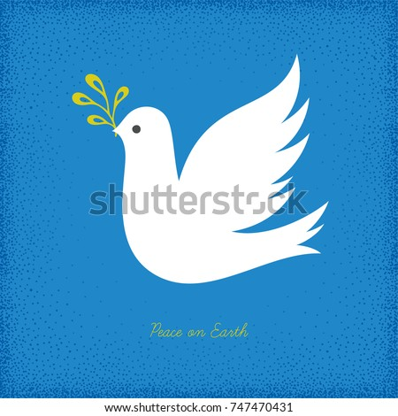 Peace Dove with branch on the blue texture background. Vector illustration.
