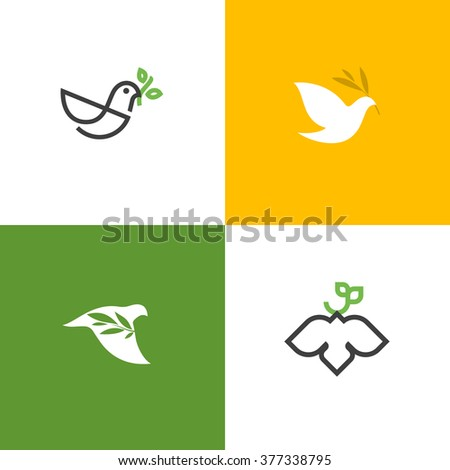 Peace dove with green branch. Flat line design style vector illustrations set of icons and logos