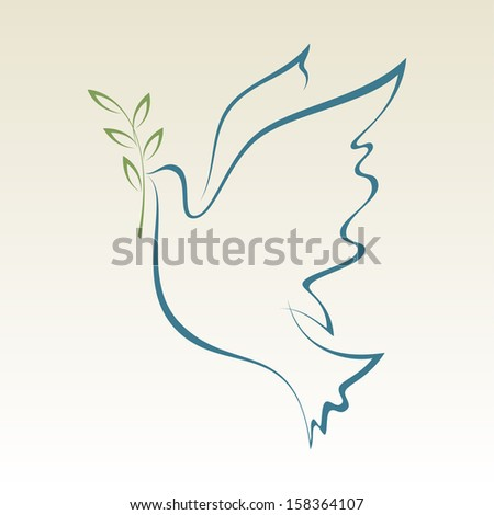 Peace Dove with with Olive Branch.