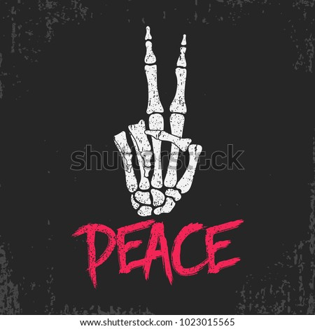 peace gesture sign print with