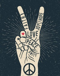 Peace hand gesture sign with words on it. Peace love poster concept. Vintage styled vector illustration