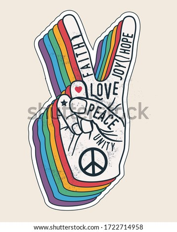 Peace hand gesture sign with words on it. Peace love sticker concept for posters or t-shirt design. Vintage styled vector illustration