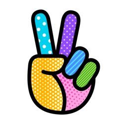 peace hand sign pop art modern vector editable illustration for your design. geometric background print for banner, flyer, postcard, social media