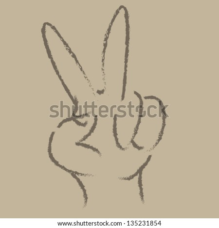 Peace Hands Crayon illustration Vector