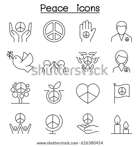 Peace icon set in thin line style