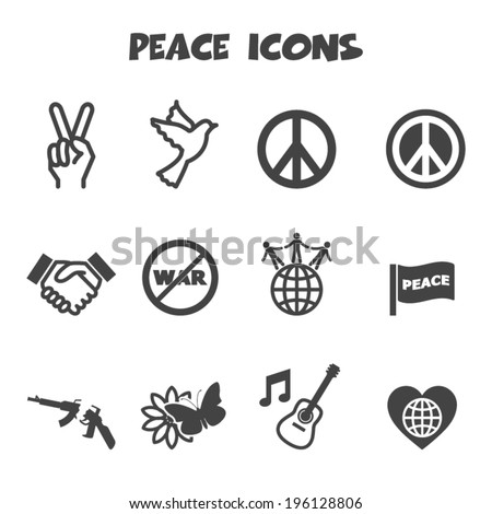 peace icons, mono vector symbols