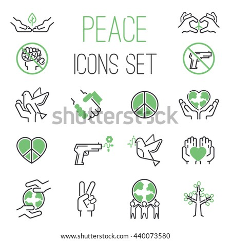 peace icons outline mono vector