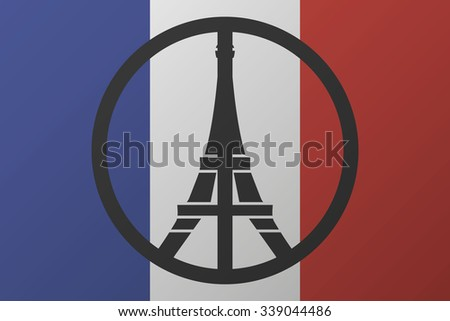 peace logo at eiffel tower