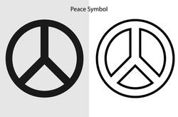 Peace logo symbol. Black line art peace icon image vector illustration. Eps 10