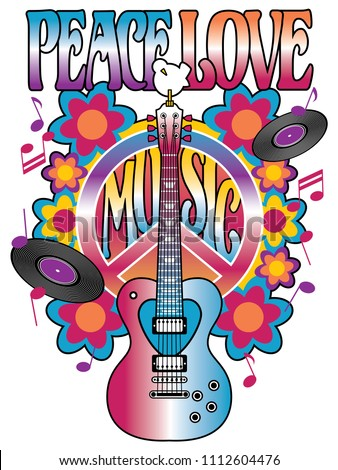 peace  love and music retro