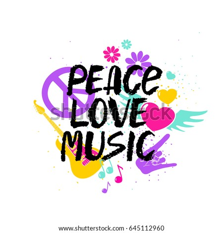 Peace Love Music - inspirational hand drawn brush ink lettering with colorful cartoon symbols.